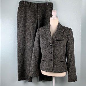 George 2 Piece Black Grey Straight Leg Suit 8PE